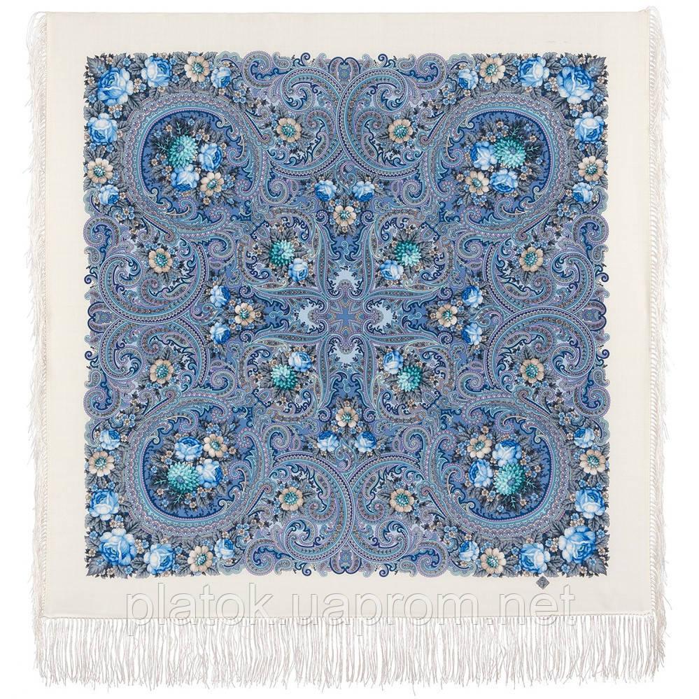 Золотой невод 1877-0, павлопосадский платок шерстяной (двуниточная шерсть) с шелковой бахромой