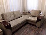 Перетяжка кутового дивана з дерев'яними подлкотниками, фото 2