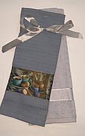 Набір рушників(40*60-1шт вафельний 3D+ 40*70 -1 шт махровий Набір рушників СІРИЙ/МАКАРОНС принт/1120+БУЗКОВИЙ/6-004