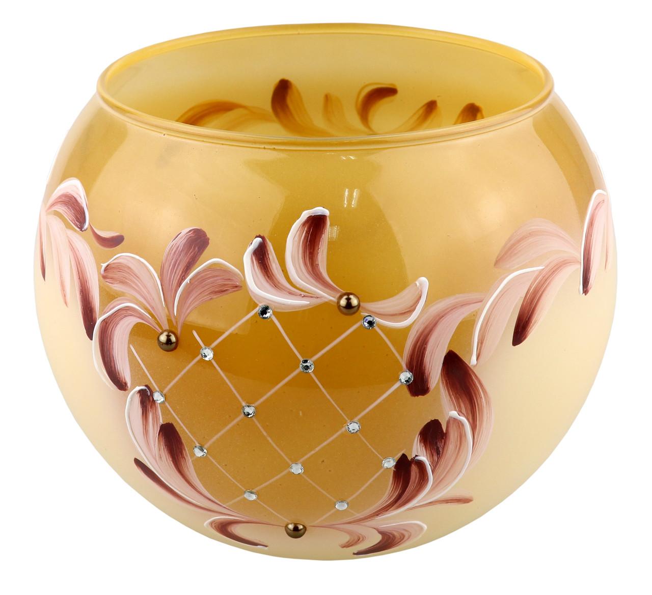 """Ваза стеклянная ручной работы """"Желтый узор"""" (Шарик средний) ZA-1329"""