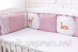 """Бортики в дитяче ліжечко із сатину """"Козулі в квітах"""" на три сторони №390"""