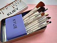 Профессиональный набор кистей, кисточек для макияжа kylie в металлическом футляре.