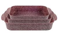 Набор противней LEXICAL LG-740301-4 антипригарное гранитное покрытие, три противня 25x20/30x22/35x24см,красный