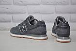 Демісезонні чоловічі замшеві кросівки сірі в стилі New Balance 574, фото 6
