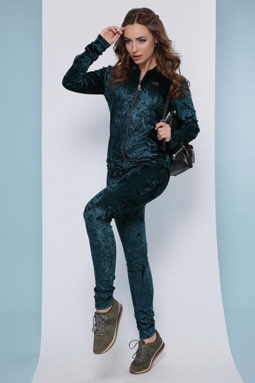 Роскошный женский велюровый костюм (кофта и брюки) изумрудный