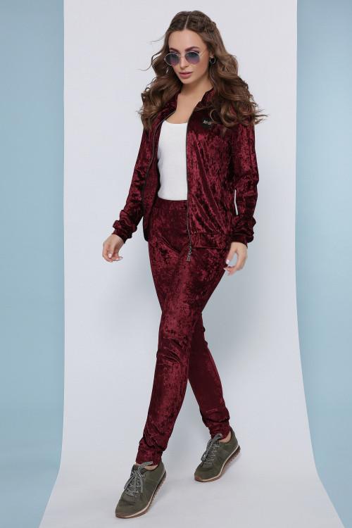 Роскошный женский велюровый костюм (кофта и брюки) бордовый