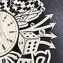 Стильные деревянные настенные часы Лас-Вегас бесшумные - подарок мужчине, фото 2