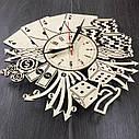 Стильные деревянные настенные часы Лас-Вегас бесшумные - подарок мужчине, фото 3