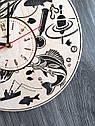 Стильные деревянные настенные часы Рыбалка - подарок мужчине-рыбаку, фото 3