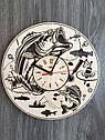 Стильные деревянные настенные часы Рыбалка - подарок мужчине-рыбаку, фото 4