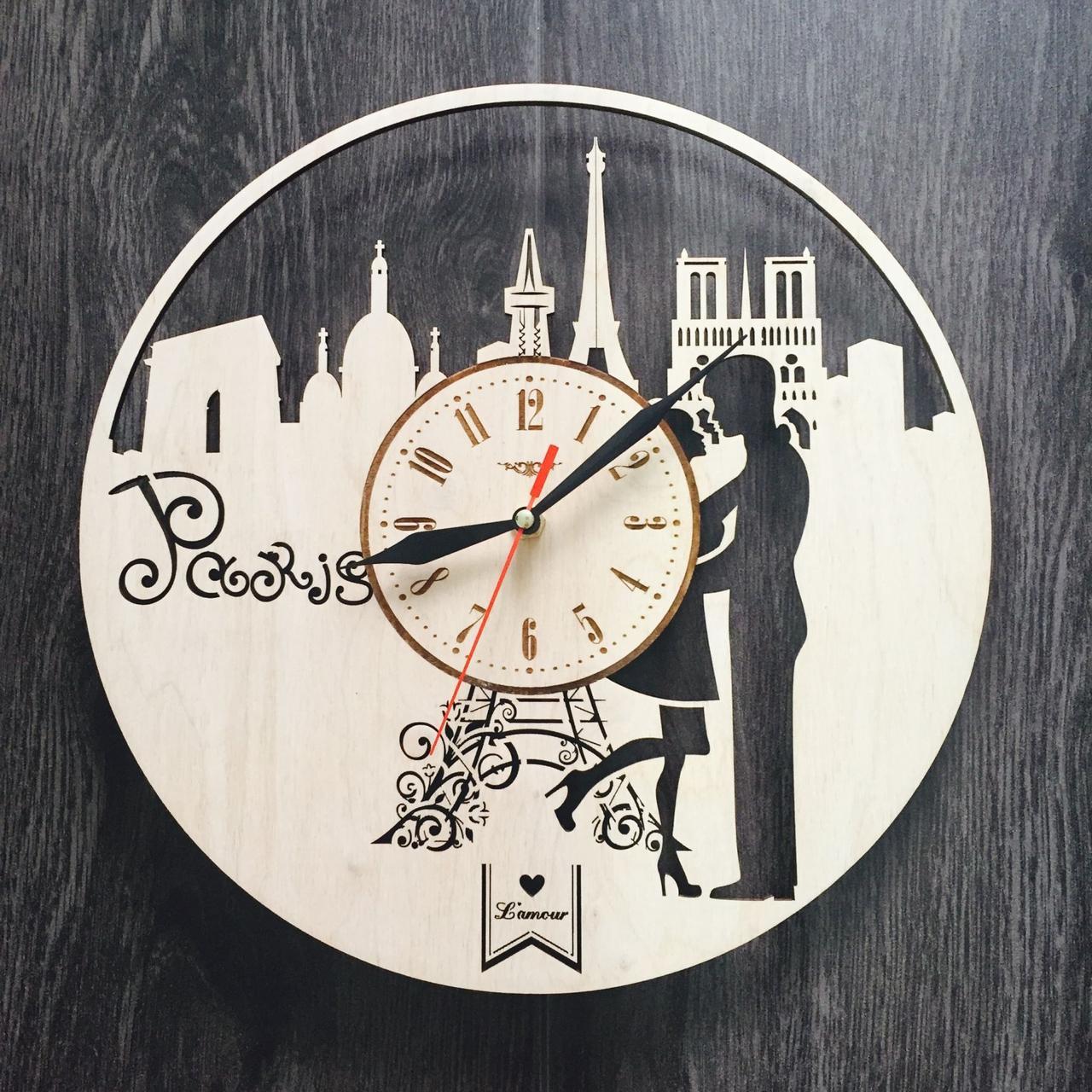 Інтер'єрні дерев'яні годинники настінні Романтика Парижа