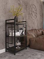 Стеллаж металлический интерьерный на три полки в стиле лофт серии Квадро Металл-Дизайн
