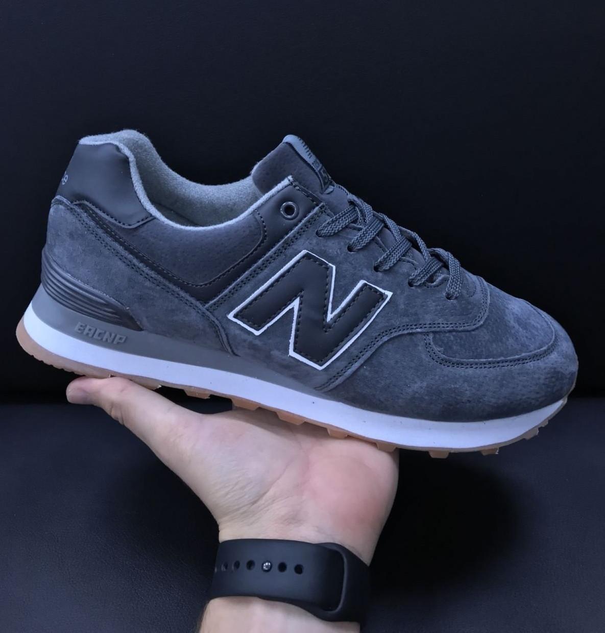 Демисезонные мужские замшевые кроссовки серые в стиле New Balance 574