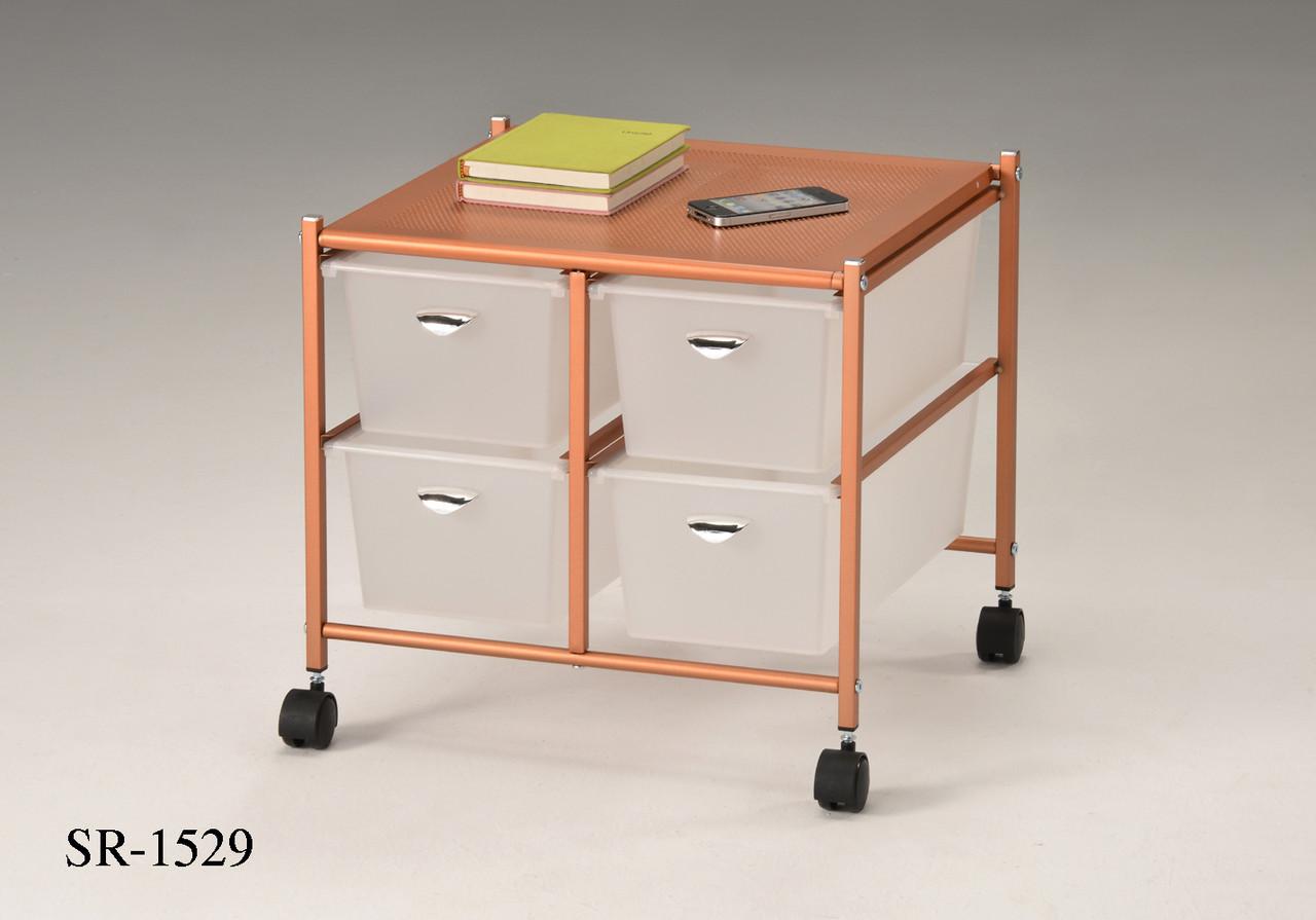 Приліжковий столик у стилі лофт, кавовий лофт столик, система зберігання з висувними шухлядами на коліщатках