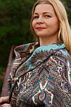 Волшебный узор 1290-3, павлопосадский платок (шаль) из уплотненной шерсти с шелковой вязанной бахромой, фото 4