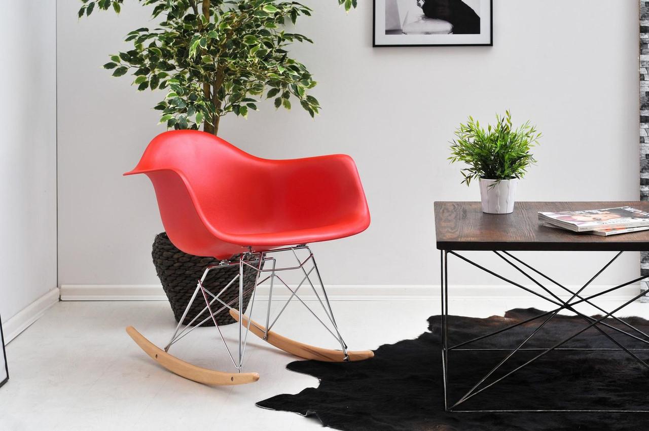 Крісло качалка в сучасному стилі пластикове Leon Rack для барів, кафе, ресторанів, стильних квартир