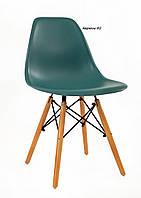 Пластиковый стул на деревянных ножках бирюза Nik для баров, кафе, ресторанов, стильных квартир