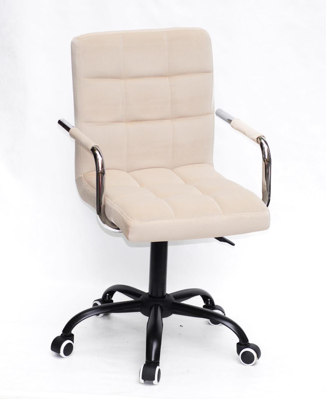 Роскошное бежевое бархатное кресло AUGUSTO - ARM BK-OFFICE на колесиках в черной раме