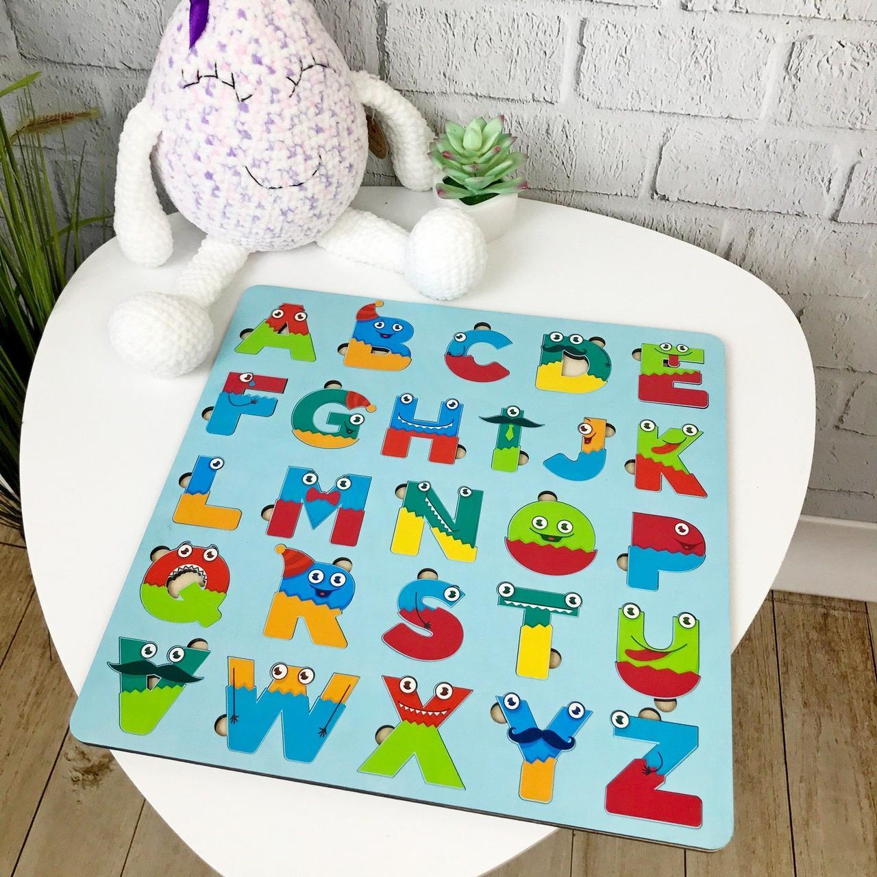 Дерев'яний англійський алфавіт кольоровий, англійська абетка, різнокольорова, пазл Алфавіт English для дітей