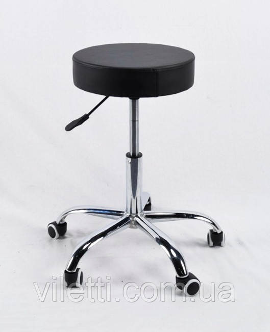 Стілець на коліщатках з підйомним механізмом - ідеальний для салонів краси, студій в еко-шкірі чорний Key