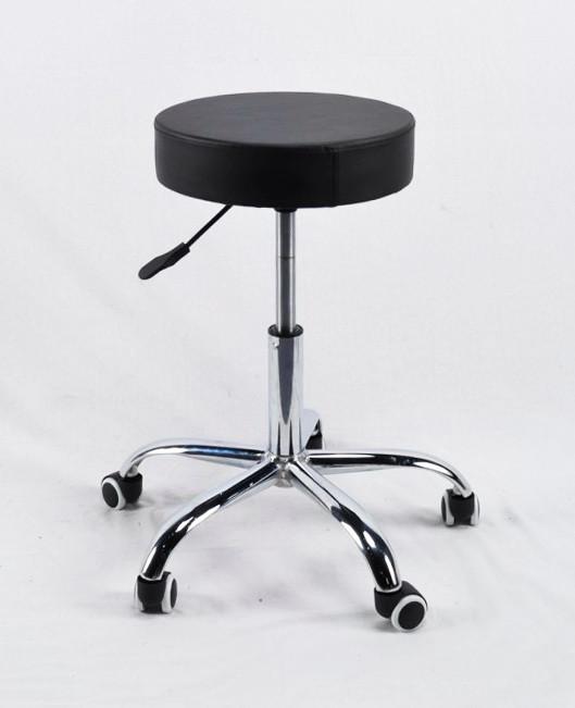 Табурет на колесиках с подъемным механизмом - идеален для салонов красоты, студий в эко-коже черный Key