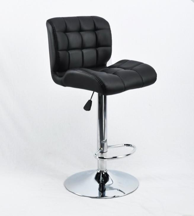 Кресло c подставкой для ног из эко-кожи на круглом хромированном основании для салонов SOHO BAR CH-BASE