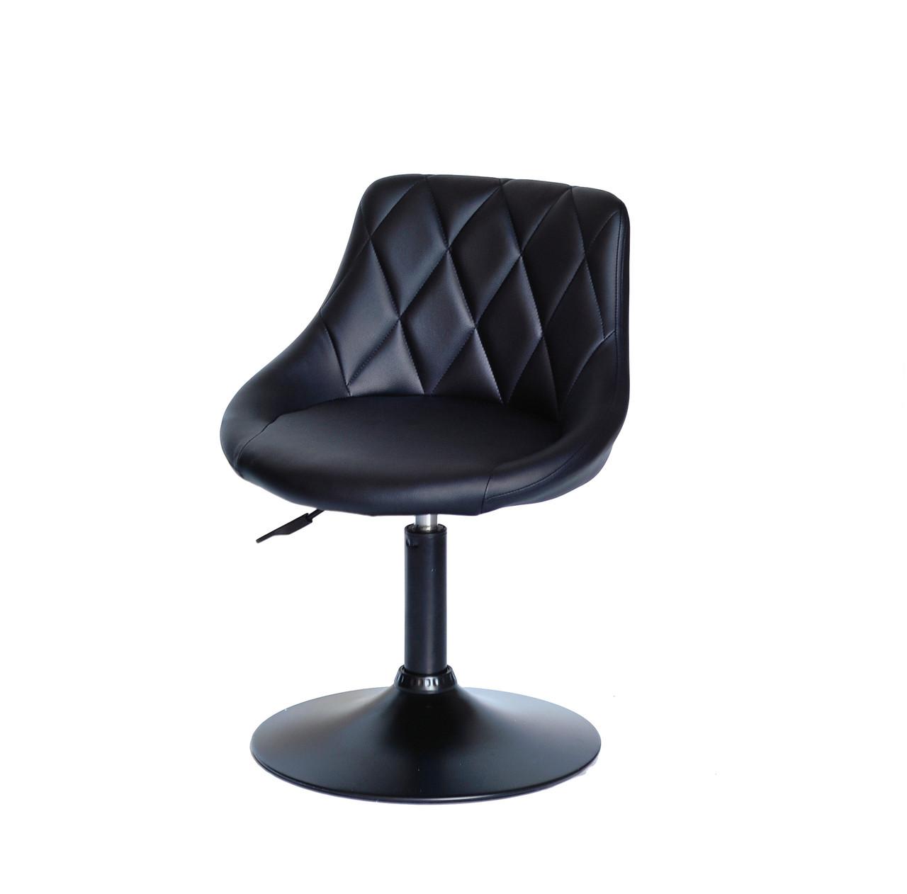 Кресло на устойчивом круглом основании черного цвета и обивкой из эко-кожи FORO BK-Base