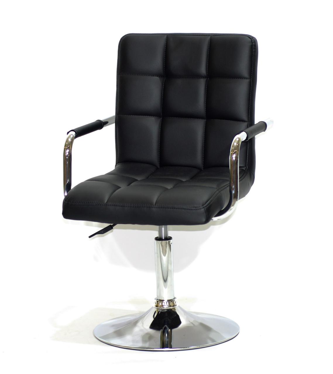 Крісло-стілець на сталий хромованому круглому підставі AUGUSTO ARM CH - Base