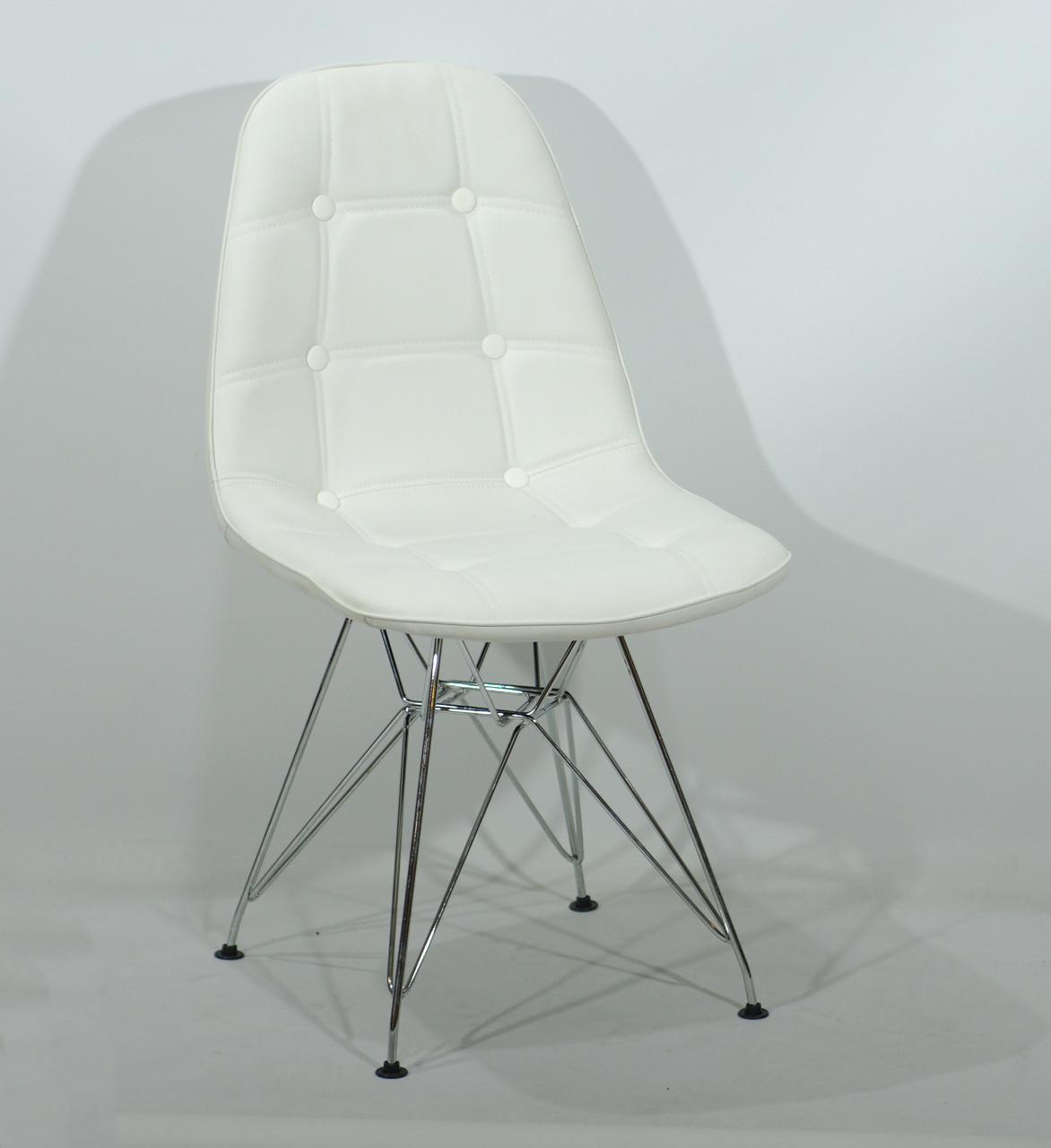 Білий стілець з м'якою основою з еко-шкіри і стильними хромованими ніжками Alex Chrom ML Еко-шкіра