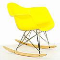Крісло качалка в сучасному стилі пластикове Leon Rack для барів, кафе, ресторанів, стильних квартир жовте, фото 2