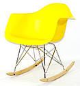 Крісло качалка в сучасному стилі пластикове Leon Rack для барів, кафе, ресторанів, стильних квартир жовте, фото 4