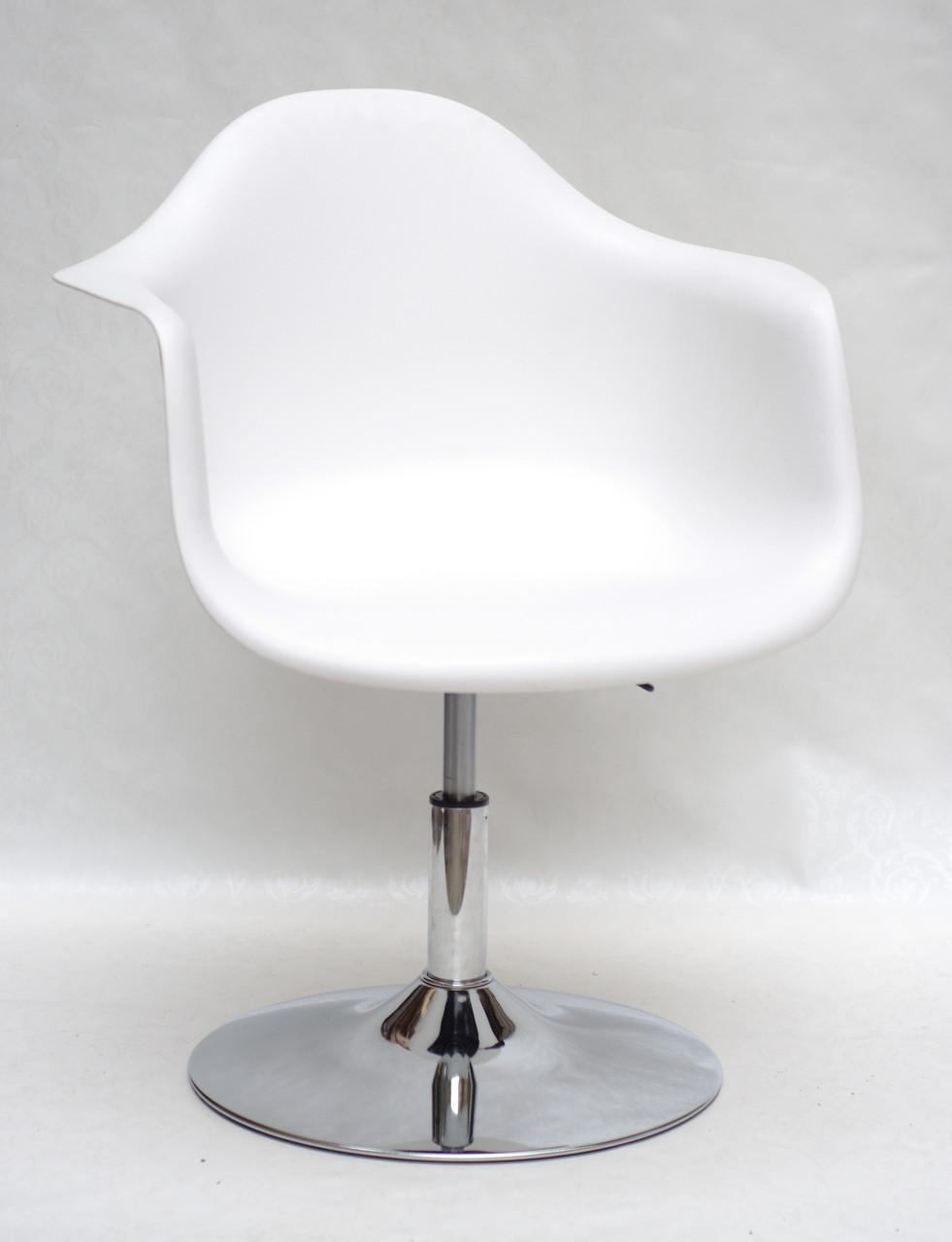 Крісло пластикове на круглій основі регульоване Leon CH - Base для салонів краси, барбершопов біле