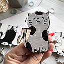 Ключница черно-белая Котята: настенная, оригинальная деревянная ключница с милыми котиками, фото 2