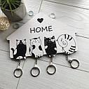 Ключница черно-белая Котята: настенная, оригинальная деревянная ключница с милыми котиками, фото 4