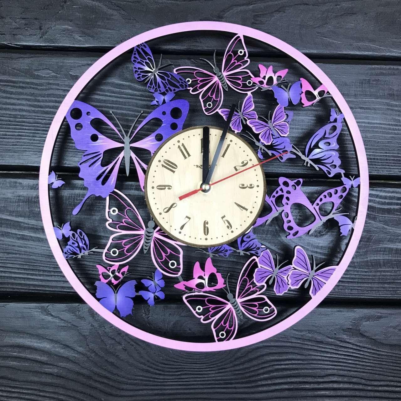 Деревянные настенные часы Вальс бабочек с цветоной печатью 300мм