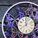 Деревянные настенные часы Вальс бабочек с цветоной печатью 300мм, фото 2