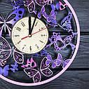 Деревянные настенные часы Вальс бабочек с цветоной печатью 300мм, фото 3