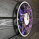 Деревянные настенные часы Вальс бабочек с цветоной печатью 300мм, фото 4