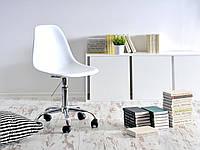 Офисное кресло, стул в офис, стул на колесиках пластиковое сиденье с хромированным основанием Nik Office белое