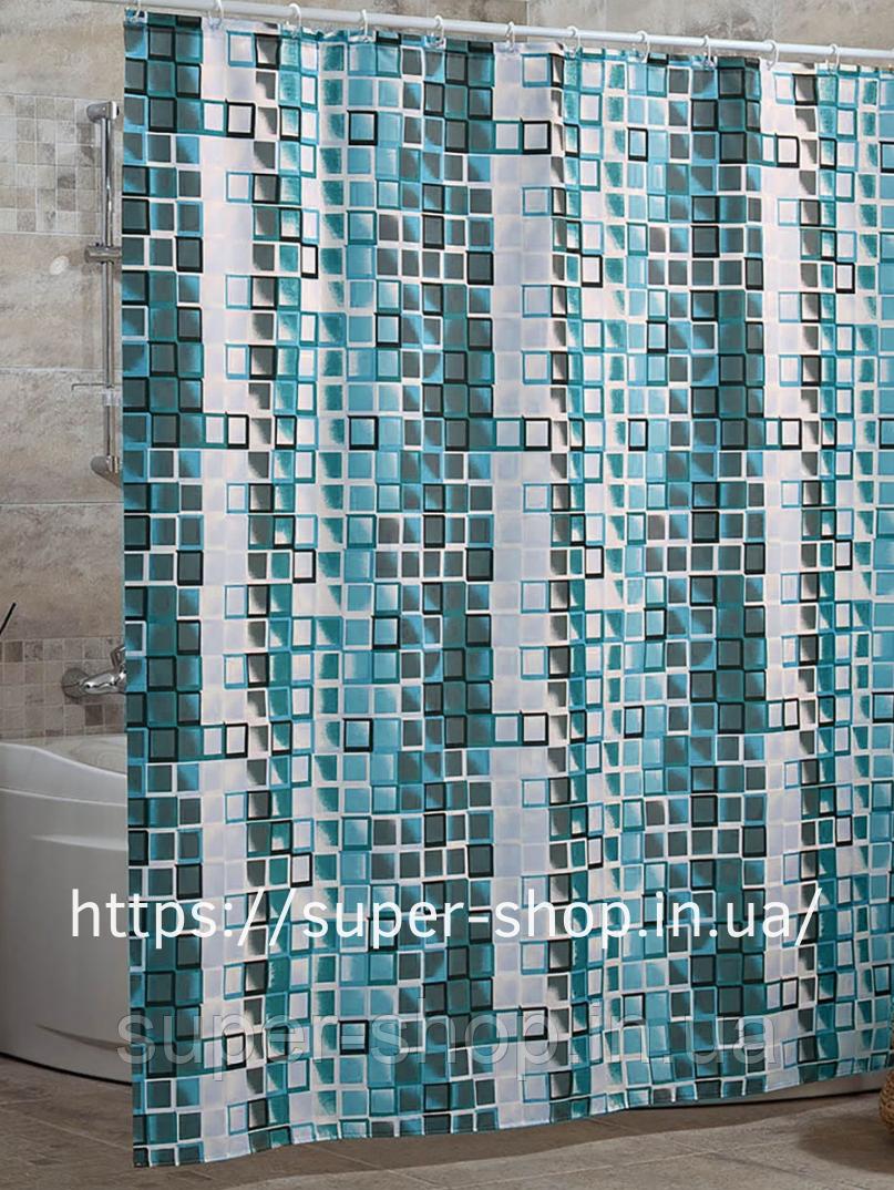 """Штори для душової водовідштовхувальні """"Міранда"""" Kare 180х200 см синя"""