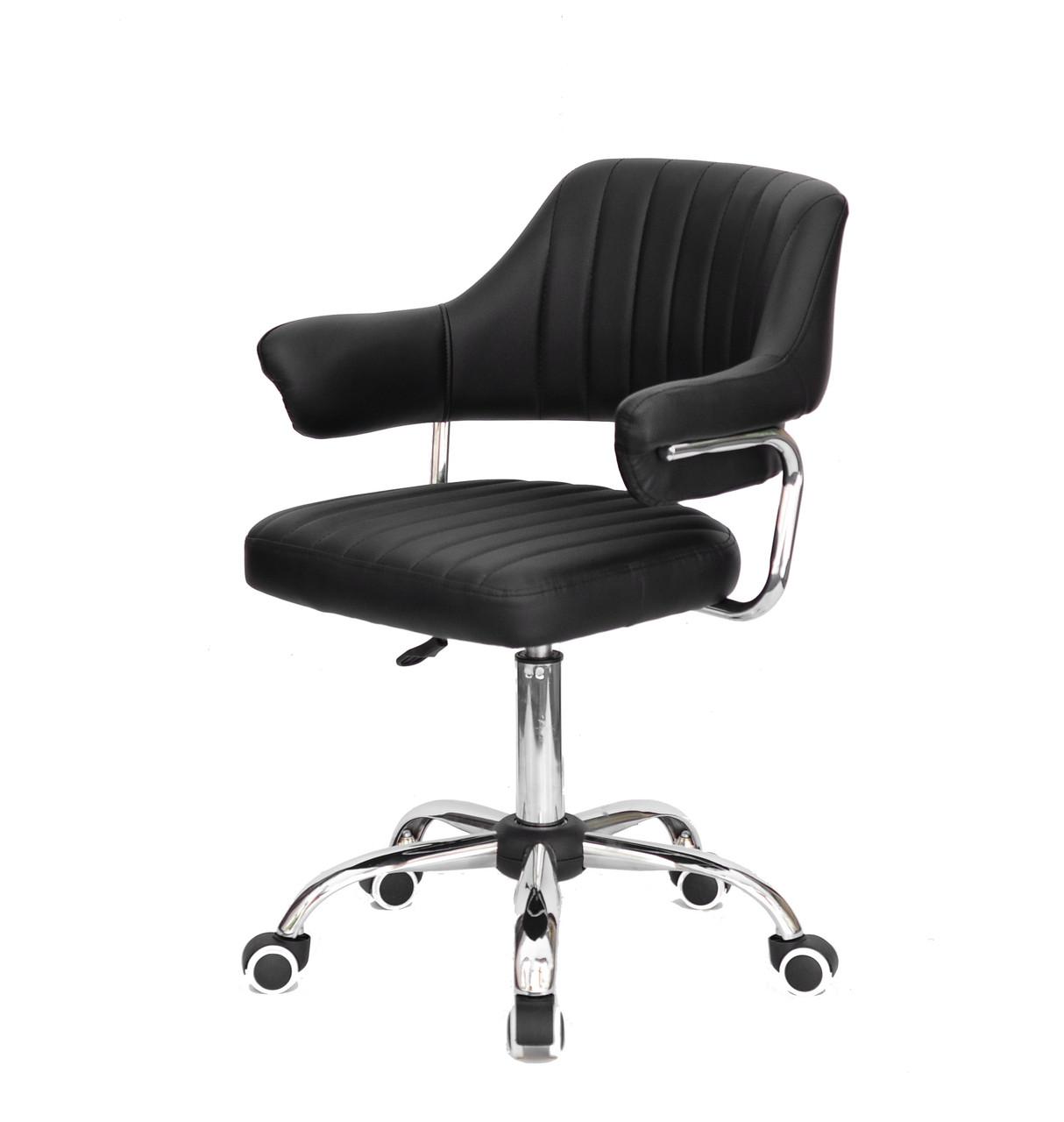Офісне сучасне чорне крісло з еко-шкіри з підлокітниками JEFF CH-Office