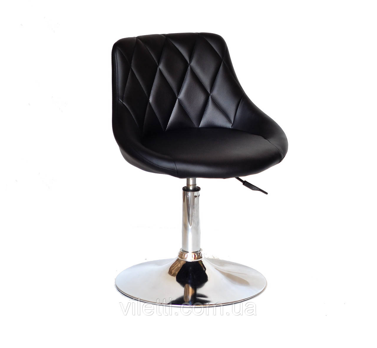 Кресло на блине хром и обивкой из эко-кожи FORO CH-Base для мастеров, клиентов, салонов