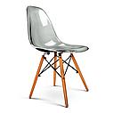 Димчастий стілець з пластиковим сидінням на дерев'яних ніжках Nik для барів, кафе, ресторанів, квартир, фото 5