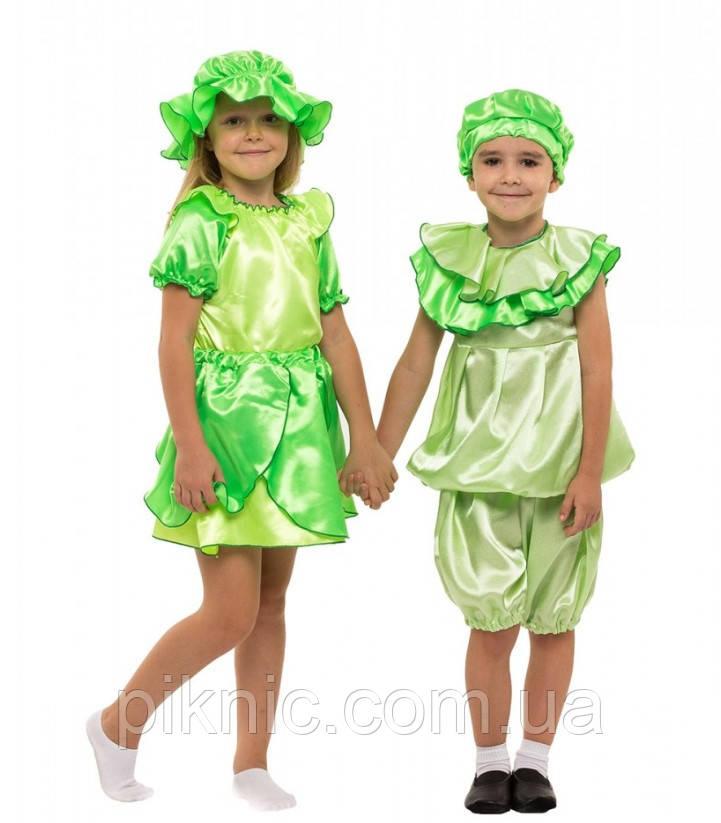 Детский карнавальный костюм Капусты Листика для детей 4,5,6,7 лет. Костюм овощи для мальчиков девочек 340
