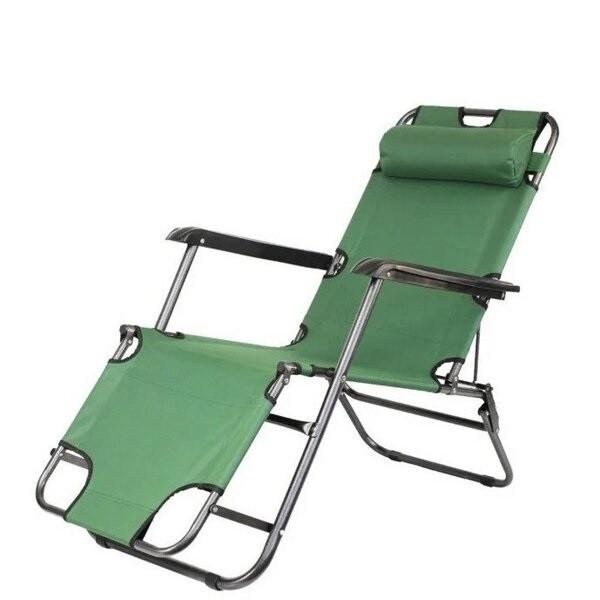 Садовое кресло шезлонг раскладное - с подголовником  (Зеленый)