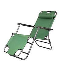 Садове крісло шезлонг розкладне - з підголовником (Зелений), фото 1