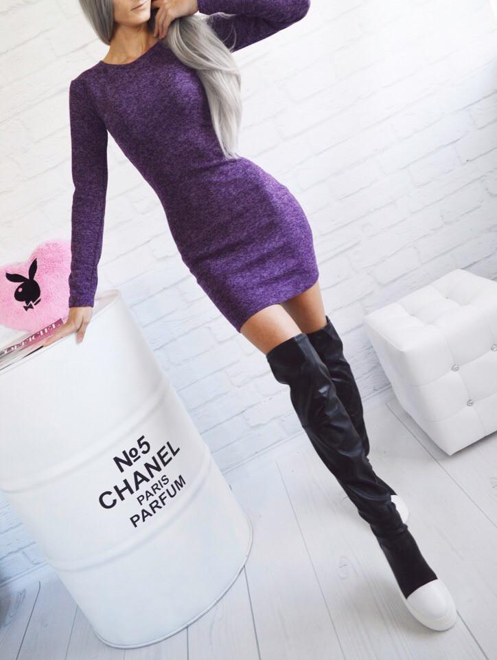 Женское теплое короткое платье мини из ангоры-софт с длинными рукавами. Фиолетовое. 40-42, 44-46