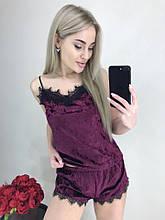Жіноча коротка піжама з мармурового оксамиту з мереживом: майка і шорти. Фуксія (фіолетова) (40-42, 44-46)
