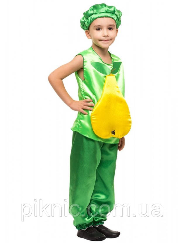 Детский карнавальный костюм Груша для мальчиков 4,5,6,7,8 лет. Фрукты для детей 340
