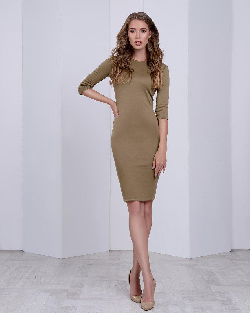 Жіноче трикотажне плаття вище коліна з рукавами по лікоть, обтягуючі. Хакі, оливкове 40,42,44,46